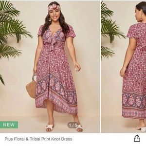 Floral and tribal print front knot dress